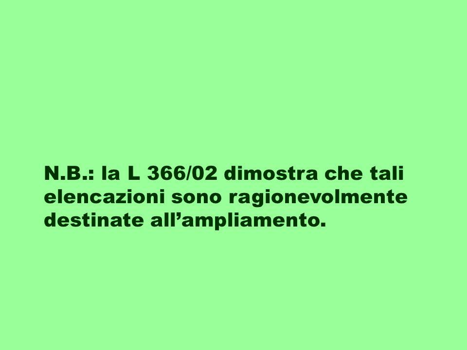 N.B.: la L 366/02 dimostra che tali elencazioni sono ragionevolmente destinate all'ampliamento.