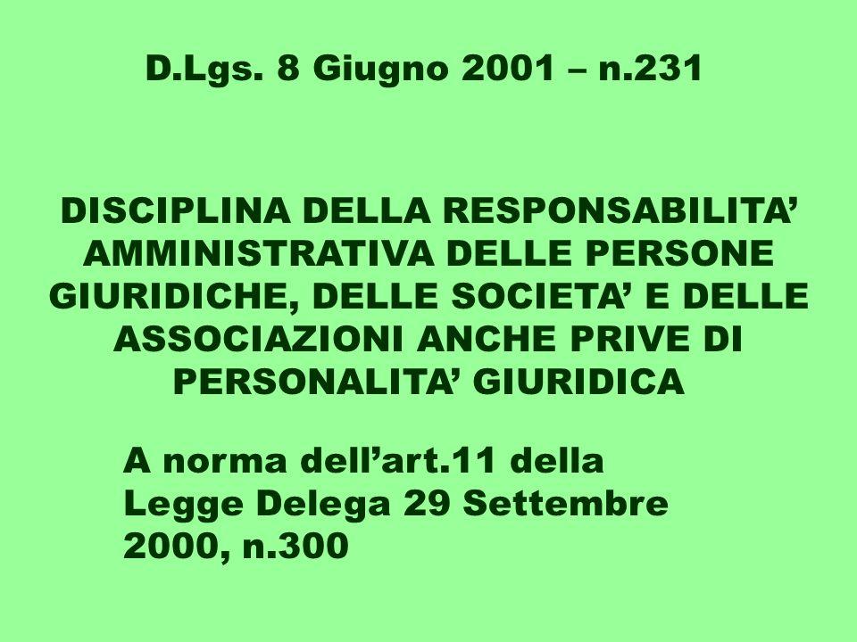DISCIPLINA DELLA RESPONSABILITA' AMMINISTRATIVA DELLE PERSONE GIURIDICHE, DELLE SOCIETA' E DELLE ASSOCIAZIONI ANCHE PRIVE DI PERSONALITA' GIURIDICA A norma dell'art.11 della Legge Delega 29 Settembre 2000, n.300 D.Lgs.