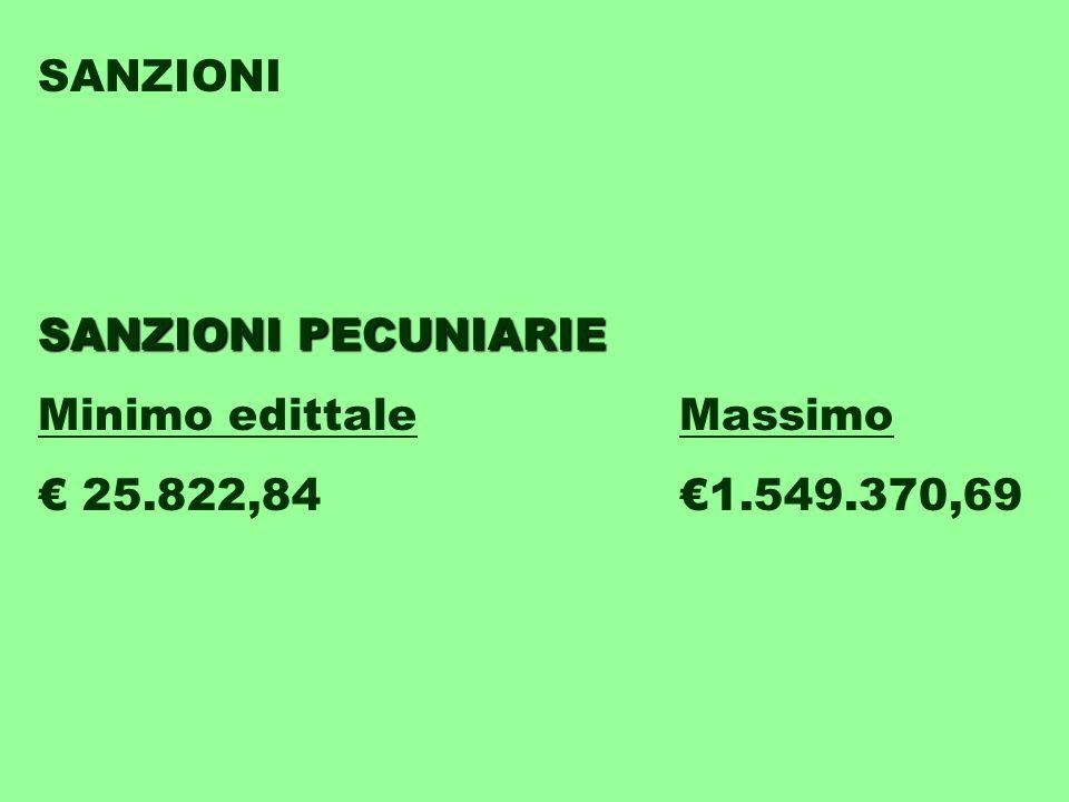 SANZIONI SANZIONI PECUNIARIE Minimo edittaleMassimo € 25.822,84€1.549.370,69