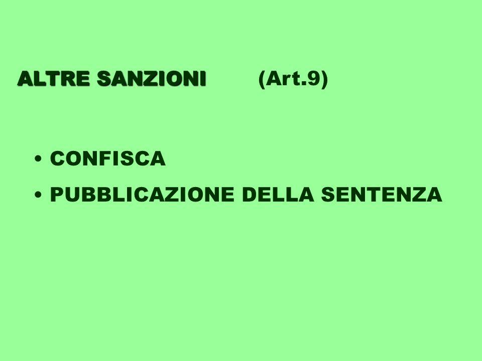 ALTRE SANZIONI ALTRE SANZIONI(Art.9) CONFISCA PUBBLICAZIONE DELLA SENTENZA