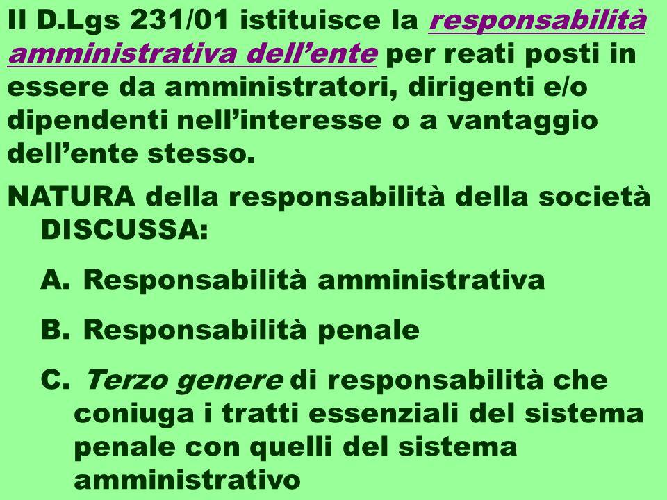 Il D.Lgs 231/01 istituisce la responsabilità amministrativa dell'ente per reati posti in essere da amministratori, dirigenti e/o dipendenti nell'interesse o a vantaggio dell'ente stesso.