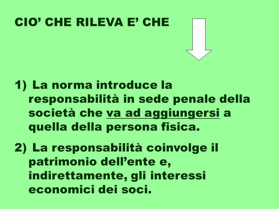 1) La norma introduce la responsabilità in sede penale della società che va ad aggiungersi a quella della persona fisica.