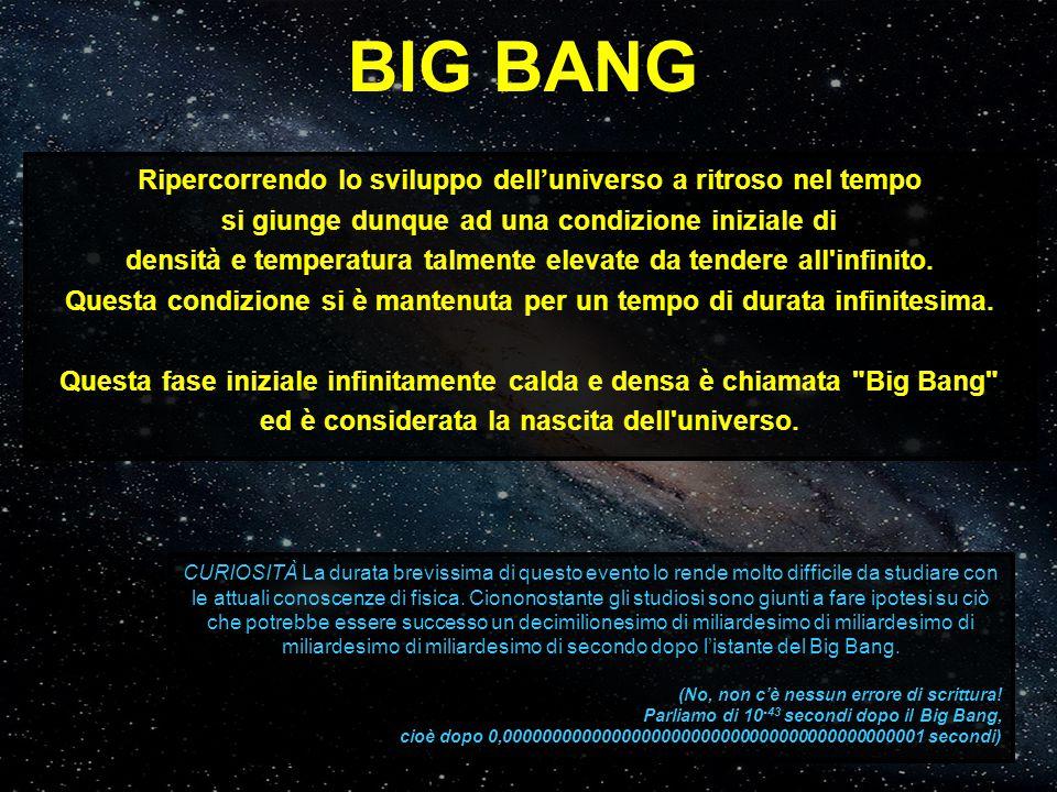 BIG BANG Ripercorrendo lo sviluppo dell'universo a ritroso nel tempo si giunge dunque ad una condizione iniziale di densità e temperatura talmente ele