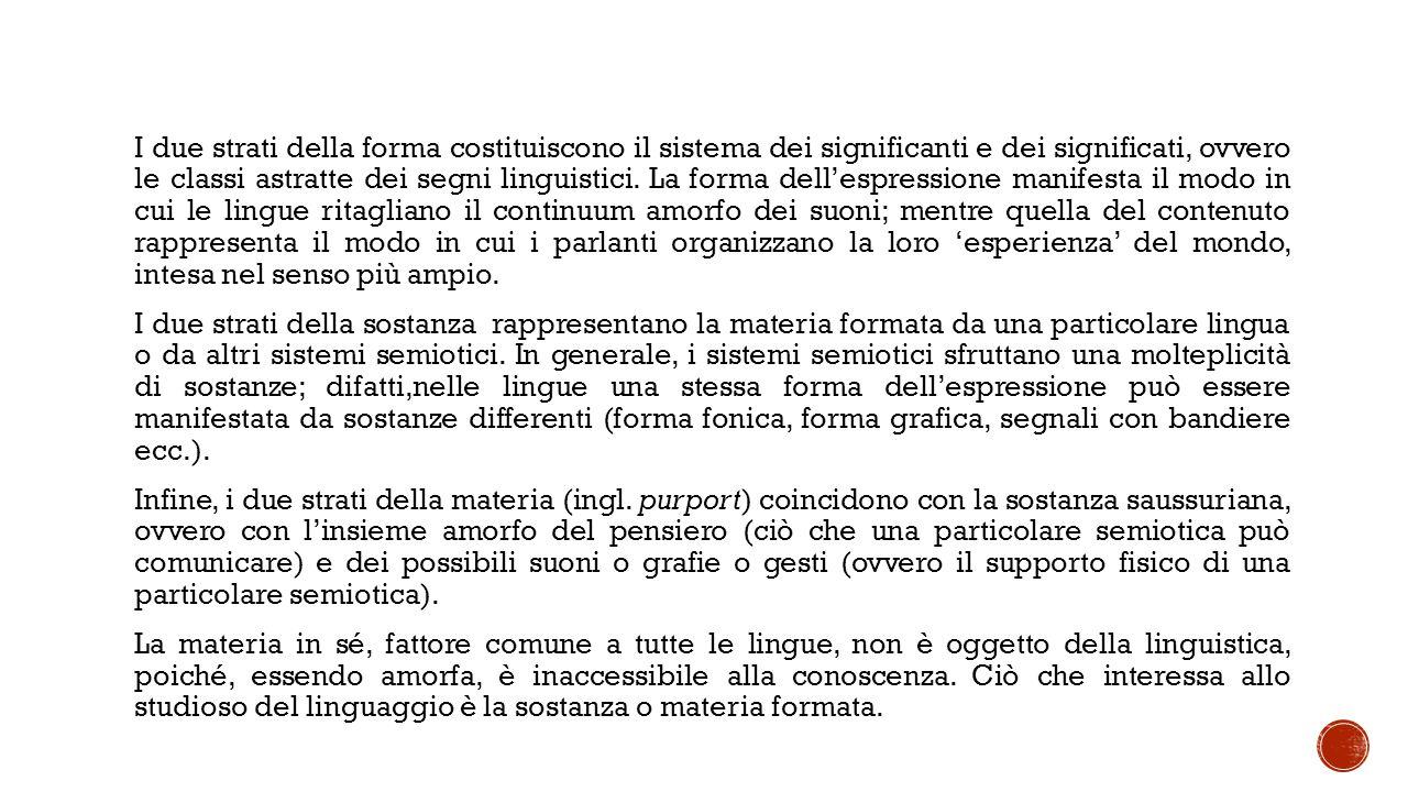 I due strati della forma costituiscono il sistema dei significanti e dei significati, ovvero le classi astratte dei segni linguistici. La forma dell'e