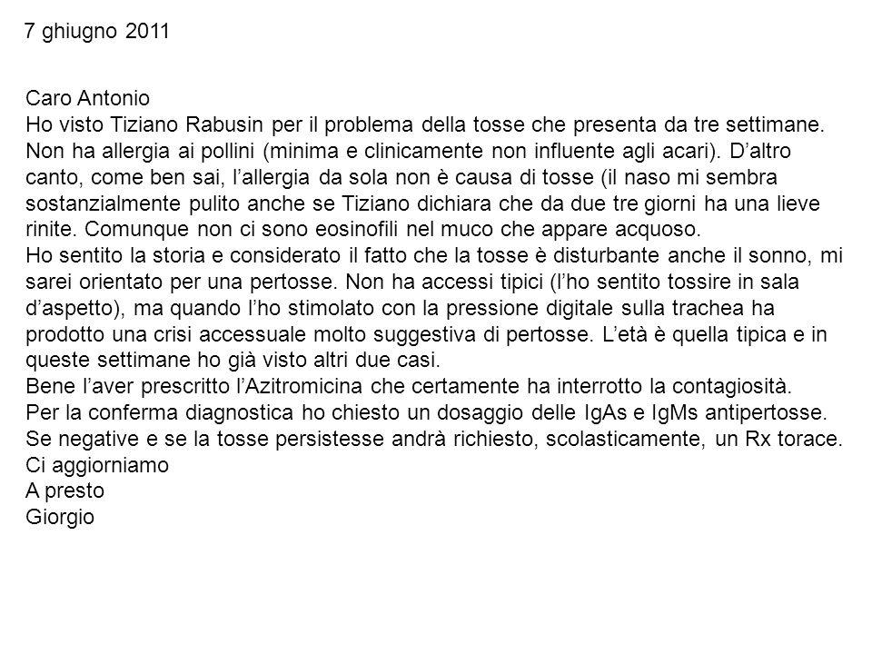 Caro Antonio Ho visto Tiziano Rabusin per il problema della tosse che presenta da tre settimane. Non ha allergia ai pollini (minima e clinicamente non