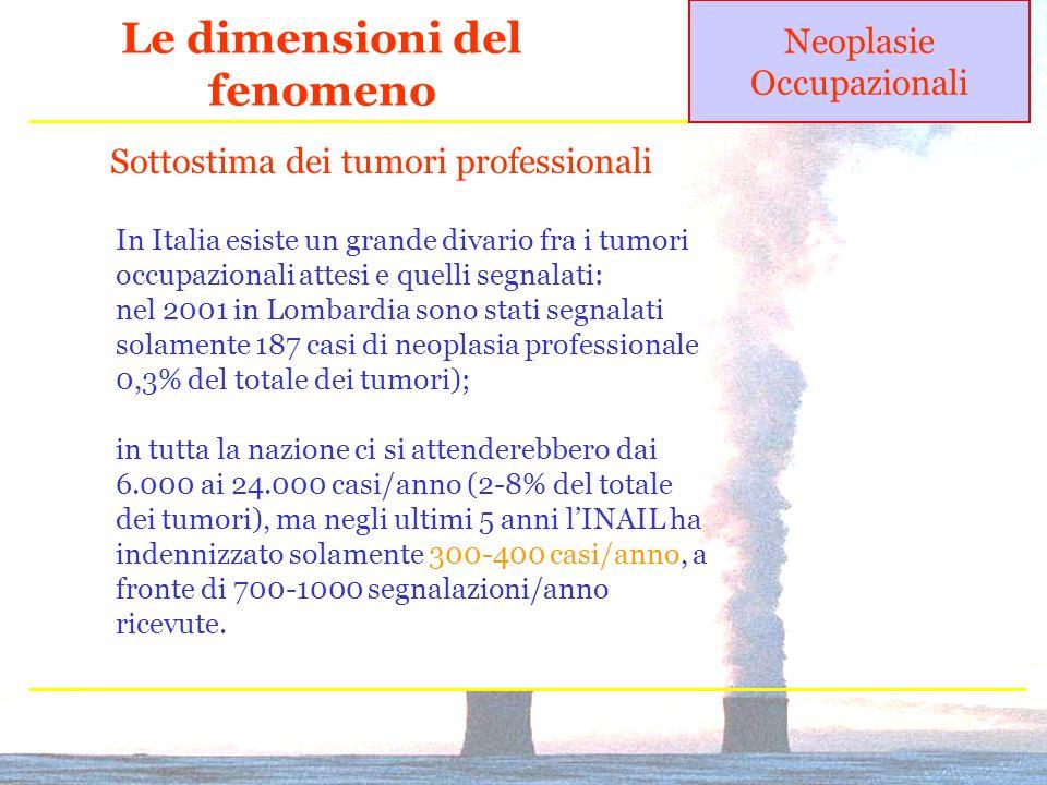 Le dimensioni del fenomeno Neoplasie Occupazionali In Italia esiste un grande divario fra i tumori occupazionali attesi e quelli segnalati: nel 2001 in Lombardia sono stati segnalati solamente 187 casi di neoplasia professionale 0,3% del totale dei tumori); in tutta la nazione ci si attenderebbero dai 6.000 ai 24.000 casi/anno (2-8% del totale dei tumori), ma negli ultimi 5 anni l'INAIL ha indennizzato solamente 300-400 casi/anno, a fronte di 700-1000 segnalazioni/anno ricevute.