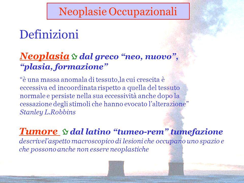 Neoplasia  dal greco neo, nuovo , plasia, formazione è una massa anomala di tessuto,la cui crescita è eccessiva ed incoordinata rispetto a quella del tessuto normale e persiste nella sua eccessività anche dopo la cessazione degli stimoli che hanno evocato l'alterazione Stanley L.Robbins Tumore  dal latino tumeo-rem tumefazione descrivel'aspetto macroscopico di lesioni che occupano uno spazio e che possono anche non essere neoplastiche Neoplasie Occupazionali Definizioni