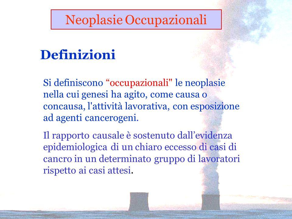 Definizioni Si definiscono occupazionali le neoplasie nella cui genesi ha agito, come causa o concausa, l attività lavorativa, con esposizione ad agenti cancerogeni.