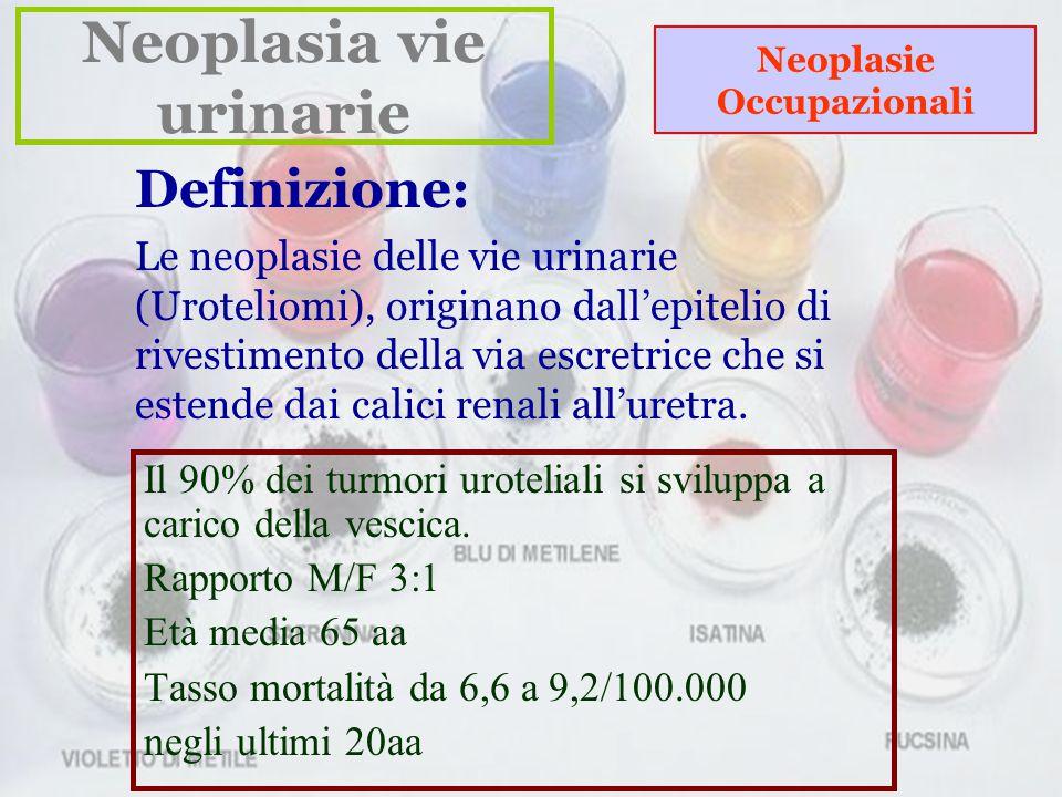 Neoplasia vie urinarie Neoplasie Occupazionali Definizione: Le neoplasie delle vie urinarie (Uroteliomi), originano dall'epitelio di rivestimento della via escretrice che si estende dai calici renali all'uretra.