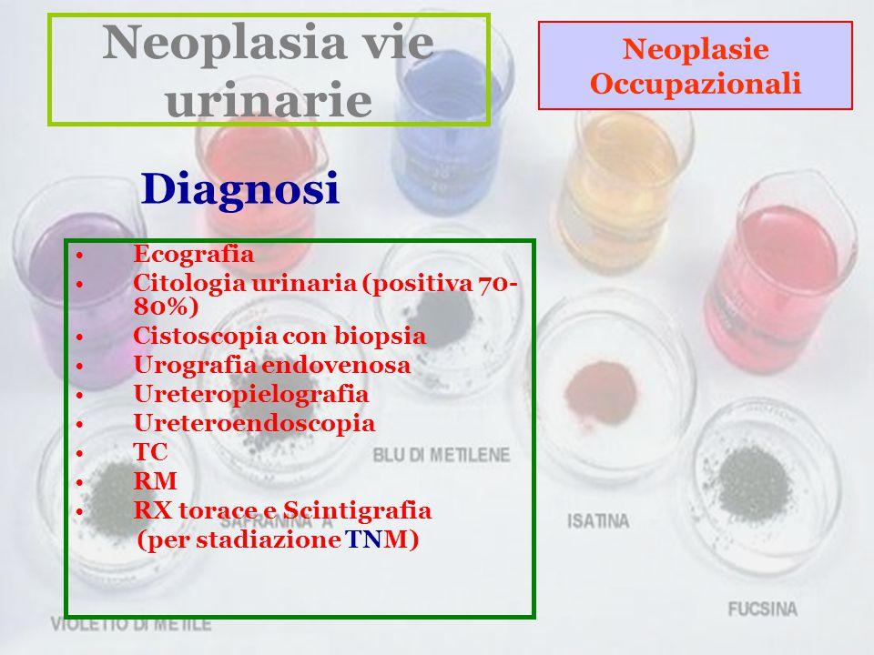 Neoplasia vie urinarie Neoplasie Occupazionali Ecografia Citologia urinaria (positiva 70- 80%) Cistoscopia con biopsia Urografia endovenosa Ureteropielografia Ureteroendoscopia TC RM RX torace e Scintigrafia (per stadiazione TNM) Diagnosi