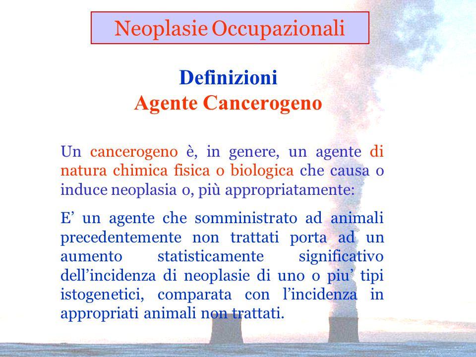 Definizioni Agente Cancerogeno Un cancerogeno è, in genere, un agente di natura chimica fisica o biologica che causa o induce neoplasia o, più appropriatamente: E' un agente che somministrato ad animali precedentemente non trattati porta ad un aumento statisticamente significativo dell'incidenza di neoplasie di uno o piu' tipi istogenetici, comparata con l'incidenza in appropriati animali non trattati.