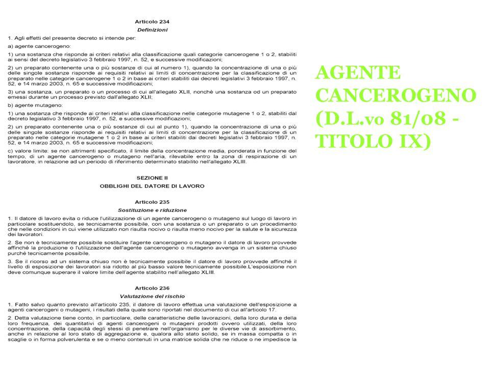 AGENTE CANCEROGENO (D.L. vo 81/08 - TITOLO IX)