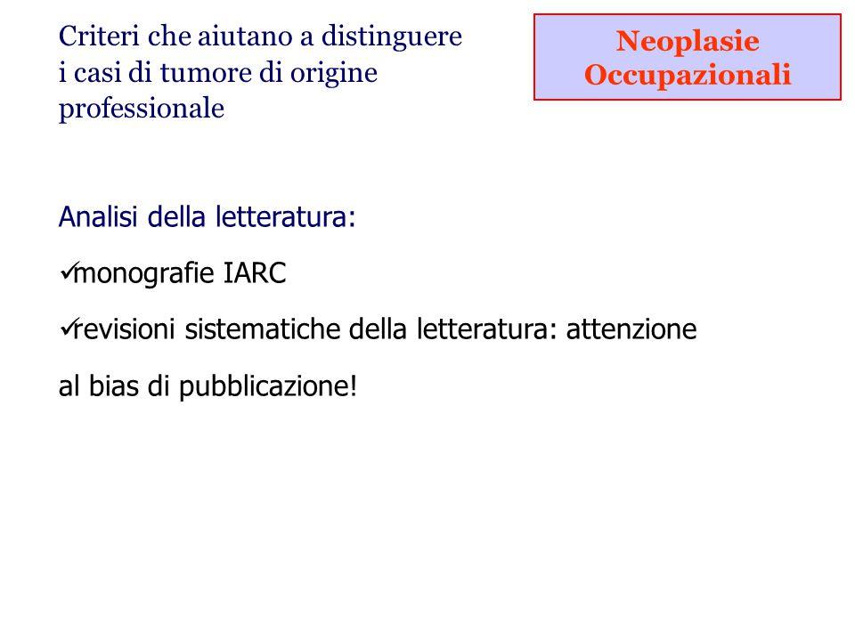 Analisi della letteratura: monografie IARC revisioni sistematiche della letteratura: attenzione al bias di pubblicazione.