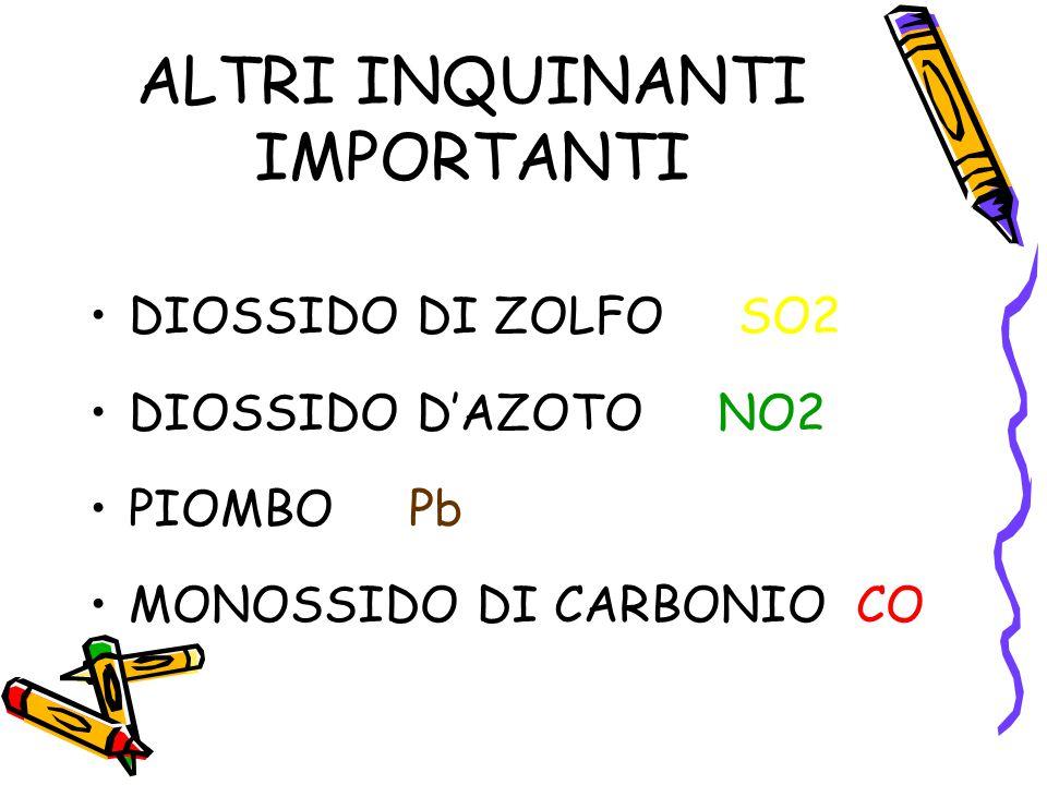 ALTRI INQUINANTI IMPORTANTI DIOSSIDO DI ZOLFO SO2 DIOSSIDO D'AZOTO NO2 PIOMBO Pb MONOSSIDO DI CARBONIO CO
