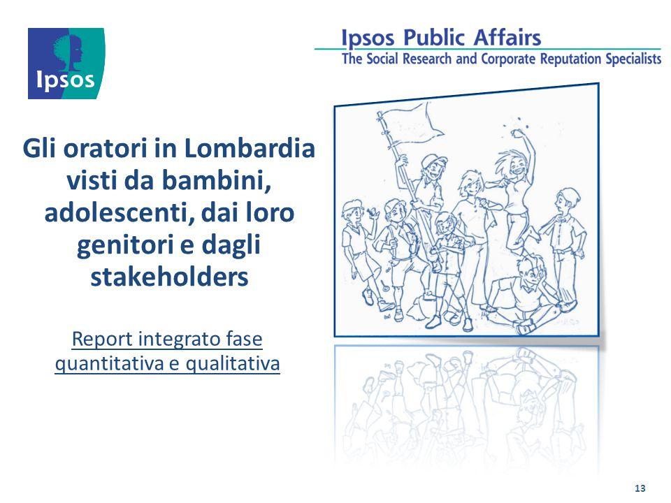 Gli oratori in Lombardia visti da bambini, adolescenti, dai loro genitori e dagli stakeholders Report integrato fase quantitativa e qualitativa 13