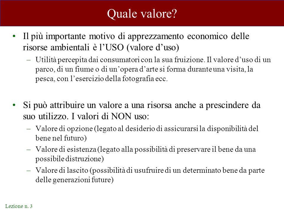 Lezione n. 3 Quale valore? Il più importante motivo di apprezzamento economico delle risorse ambientali è l'USO (valore d'uso) –Utilità percepita dai