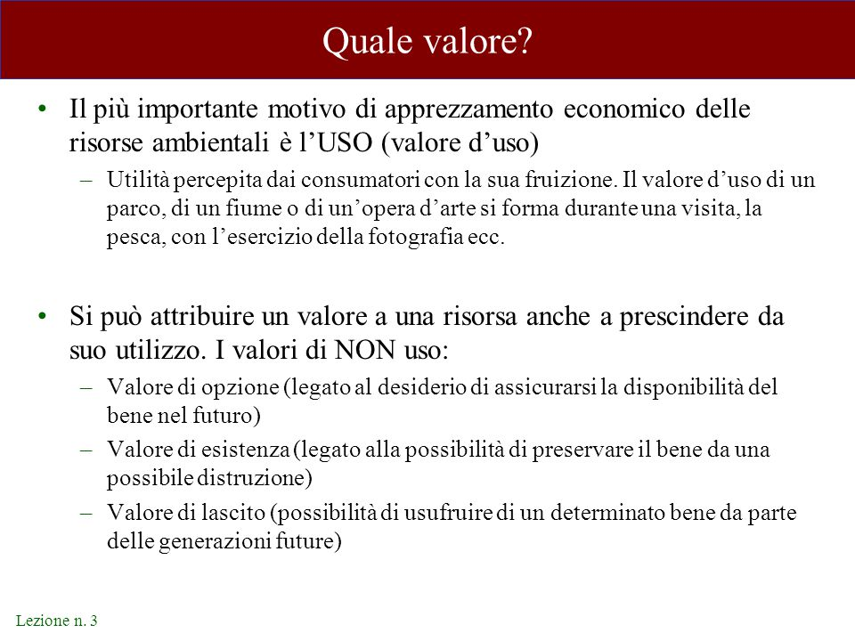 Lezione n. 3 Quale valore.