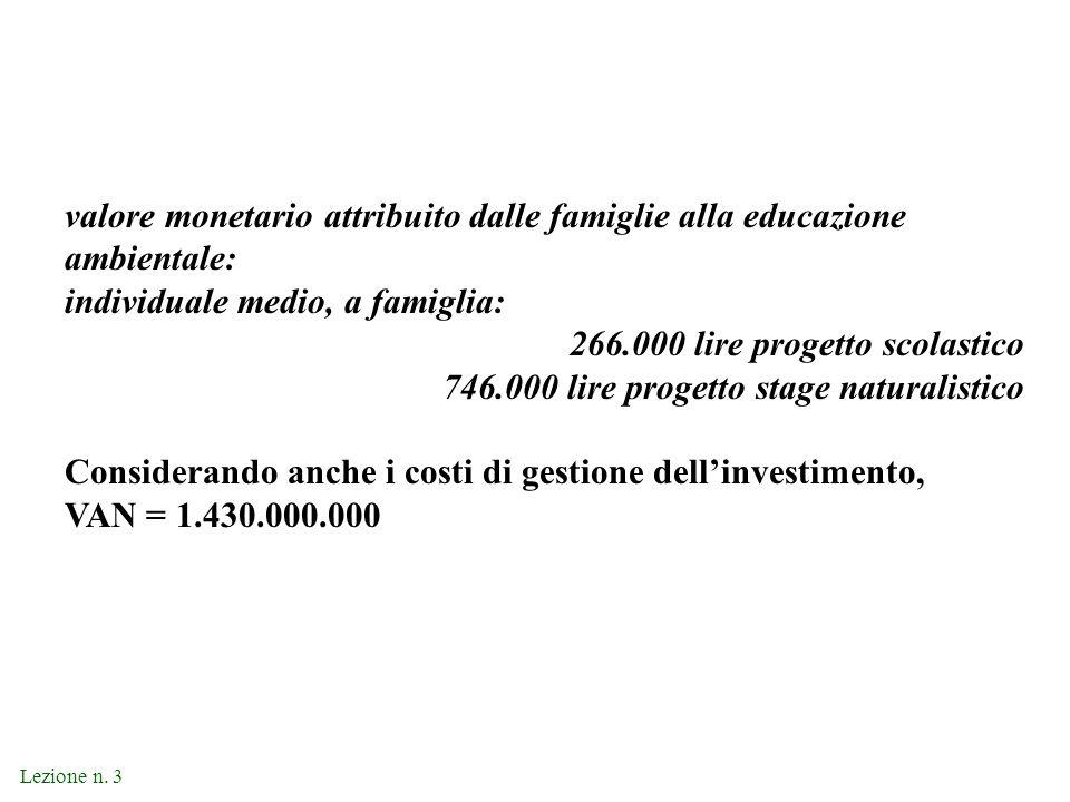 Lezione n. 3 valore monetario attribuito dalle famiglie alla educazione ambientale: individuale medio, a famiglia: 266.000 lire progetto scolastico 74