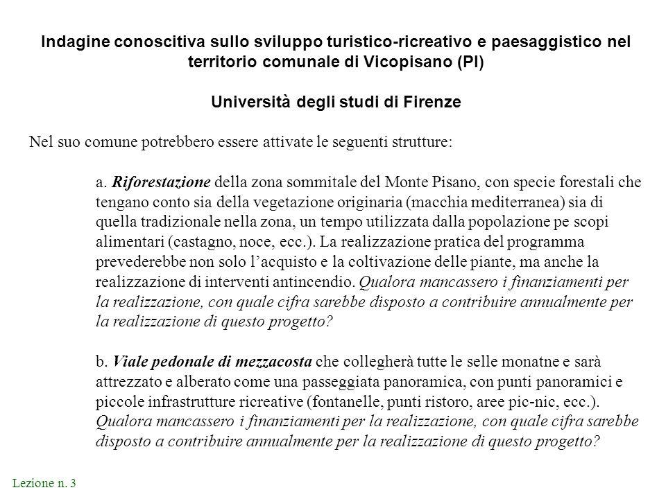Indagine conoscitiva sullo sviluppo turistico-ricreativo e paesaggistico nel territorio comunale di Vicopisano (PI) Università degli studi di Firenze