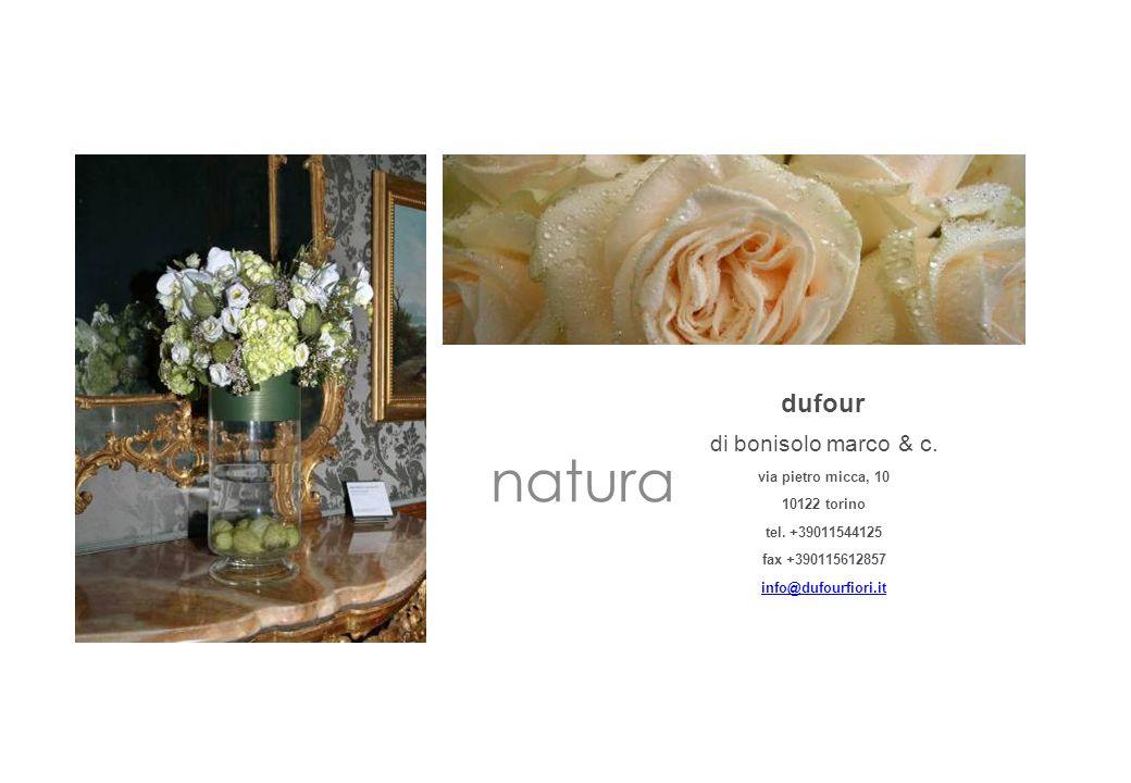 natura dufour di bonisolo marco & c. via pietro micca, 10 10122 torino tel. +39011544125 fax +390115612857 info@dufourfiori.it