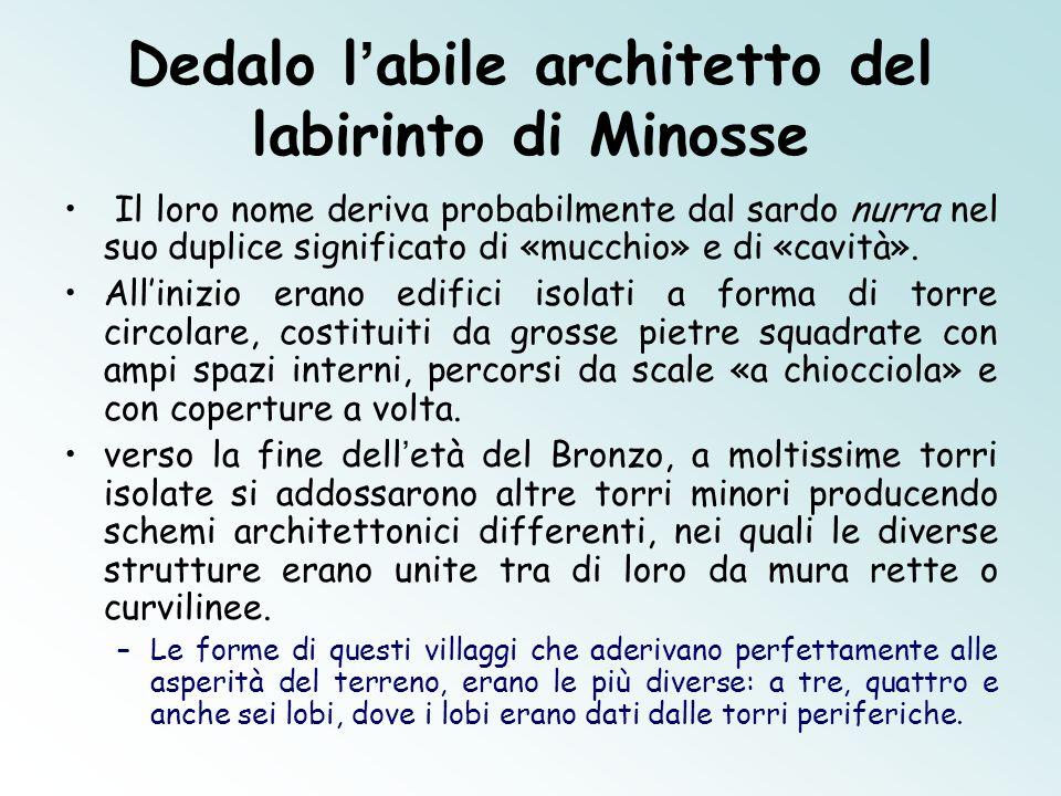 Dedalo l'abile architetto del labirinto di Minosse Il loro nome deriva probabilmente dal sardo nurra nel suo duplice significato di «mucchio» e di «cavità».