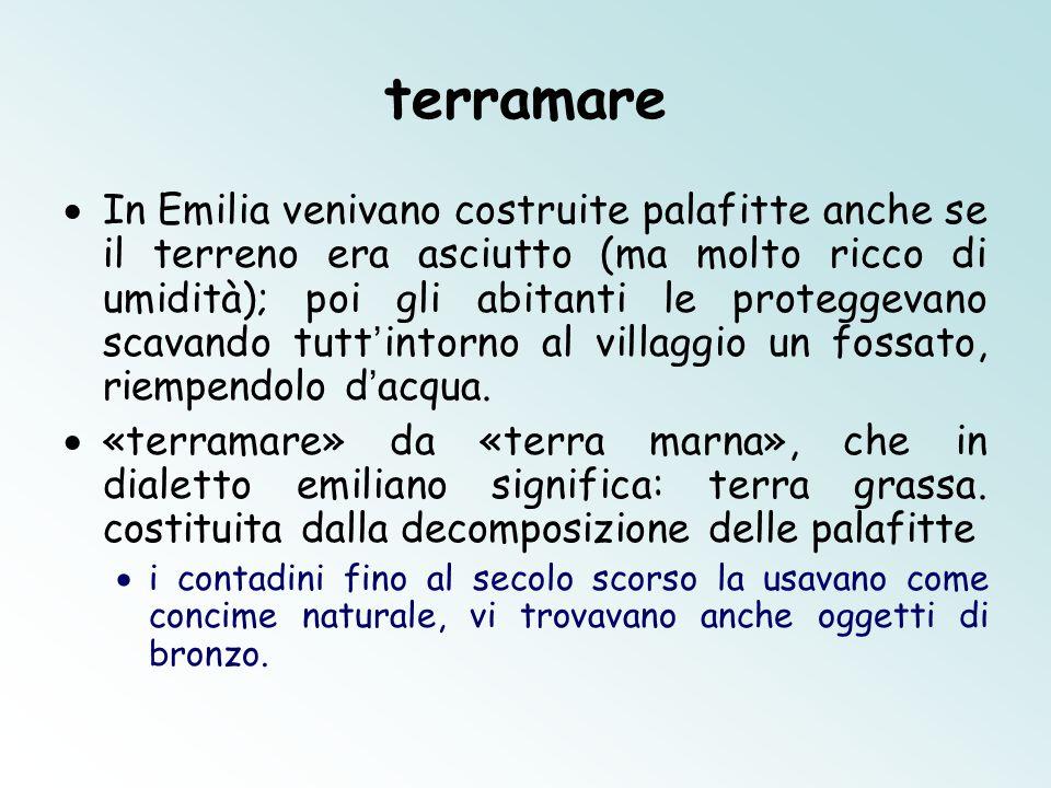 terramare  In Emilia venivano costruite palafitte anche se il terreno era asciutto (ma molto ricco di umidità); poi gli abitanti le proteggevano scavando tutt ' intorno al villaggio un fossato, riempendolo d ' acqua.