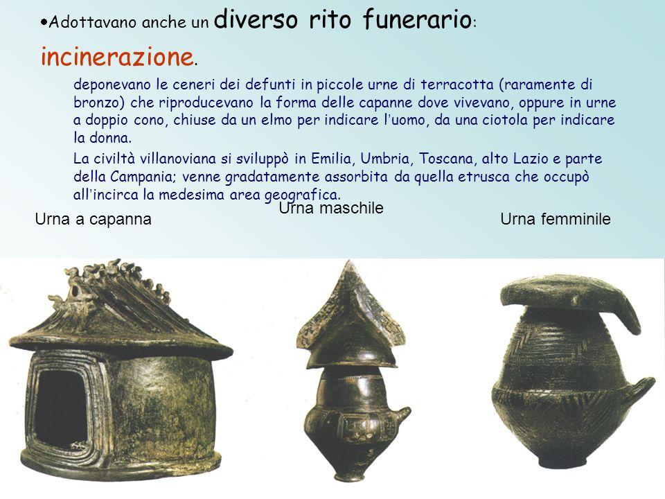 Urna a capanna Urna maschile Urna femminile  Adottavano anche un diverso rito funerario : incinerazione. deponevano le ceneri dei defunti in piccole