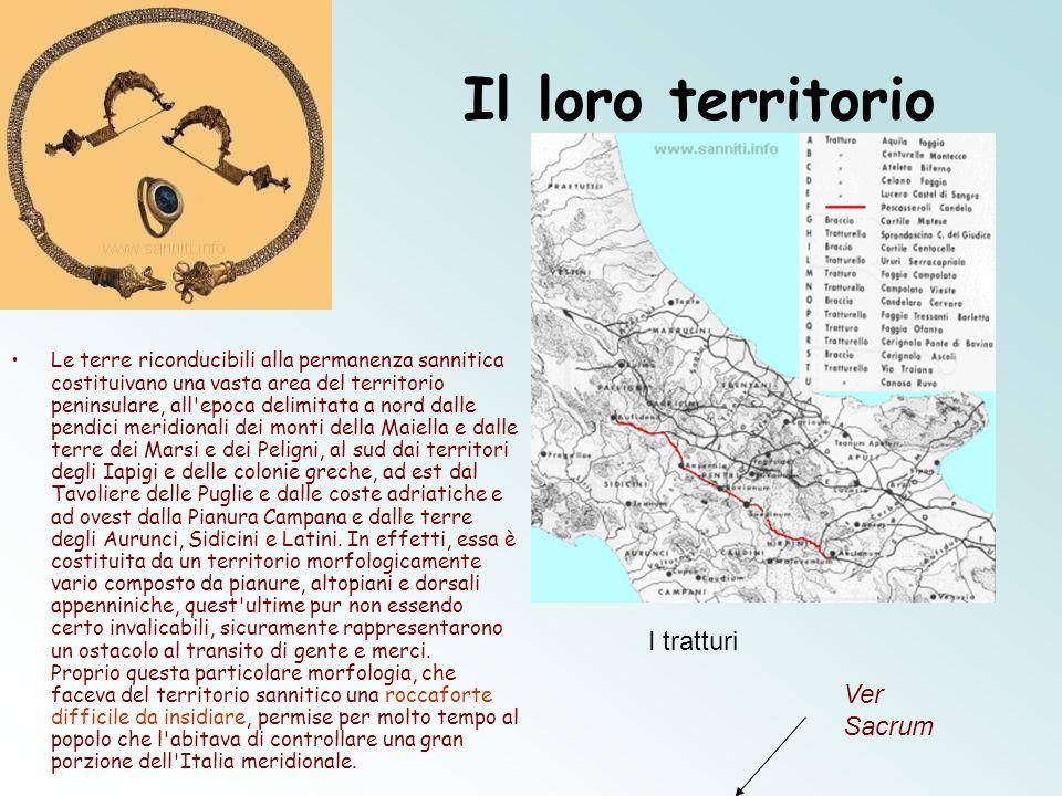 Il loro territorio Le terre riconducibili alla permanenza sannitica costituivano una vasta area del territorio peninsulare, all'epoca delimitata a nor