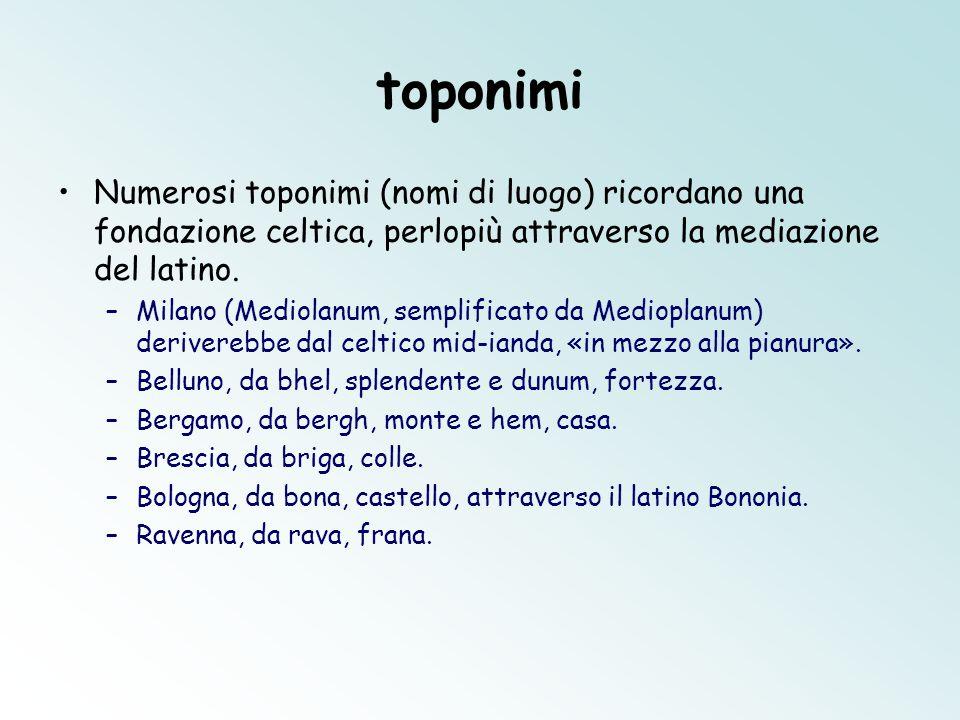 toponimi Numerosi toponimi (nomi di luogo) ricordano una fondazione celtica, perlopiù attraverso la mediazione del latino. –Milano (Mediolanum, sempli