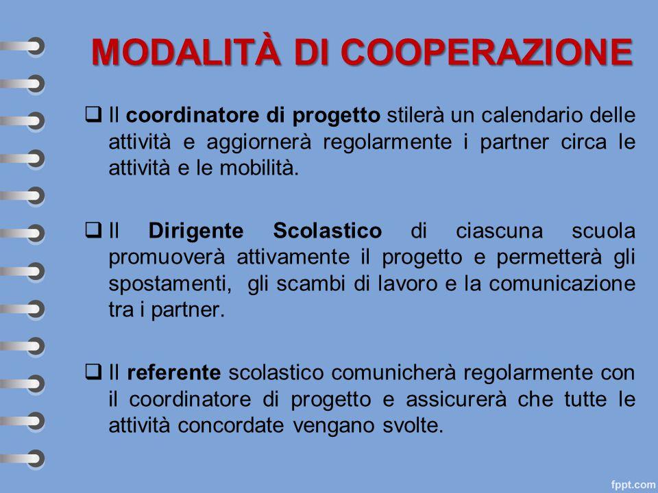 MODALITÀ DI COOPERAZIONE  Il coordinatore di progetto stilerà un calendario delle attività e aggiornerà regolarmente i partner circa le attività e le