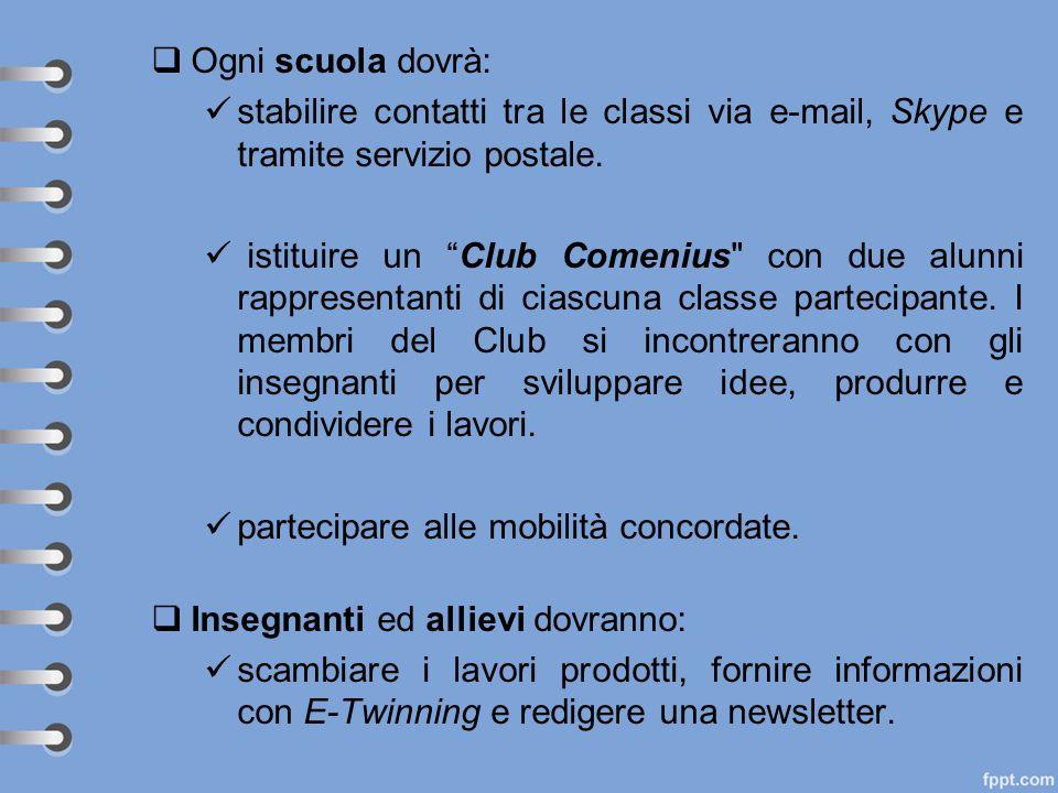 """ Ogni scuola dovrà: stabilire contatti tra le classi via e-mail, Skype e tramite servizio postale. istituire un """"Club Comenius"""