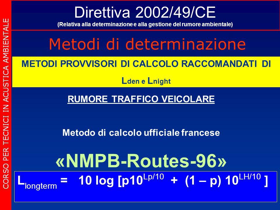 Direttiva 2002/49/CE (Relativa alla determinazione e alla gestione del rumore ambientale) Metodi di determinazione CORSO PER TECNICI IN ACUSTICA AMBIENTALE METODI PROVVISORI DI CALCOLO RACCOMANDATI DI L den e L night RUMORE TRAFFICO VEICOLARE Metodo di calcolo ufficiale francese «NMPB-Routes-96» L longterm = 10 log [p10 Lp/10 + (1 – p) 10 LH/10 ]