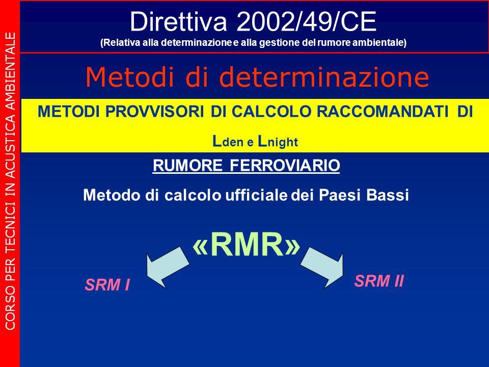 Direttiva 2002/49/CE (Relativa alla determinazione e alla gestione del rumore ambientale) Metodi di determinazione CORSO PER TECNICI IN ACUSTICA AMBIENTALE METODI PROVVISORI DI CALCOLO RACCOMANDATI DI L den e L night RUMORE FERROVIARIO Metodo di calcolo ufficiale dei Paesi Bassi «RMR» SRM I SRM II
