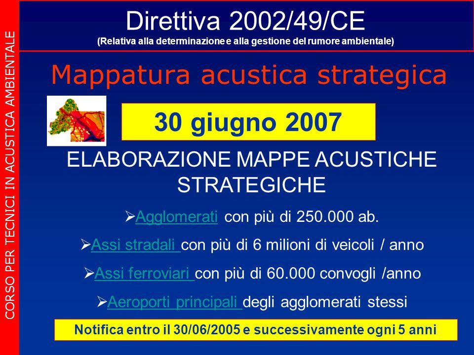 Direttiva 2002/49/CE (Relativa alla determinazione e alla gestione del rumore ambientale) Mappatura acustica strategica CORSO PER TECNICI IN ACUSTICA