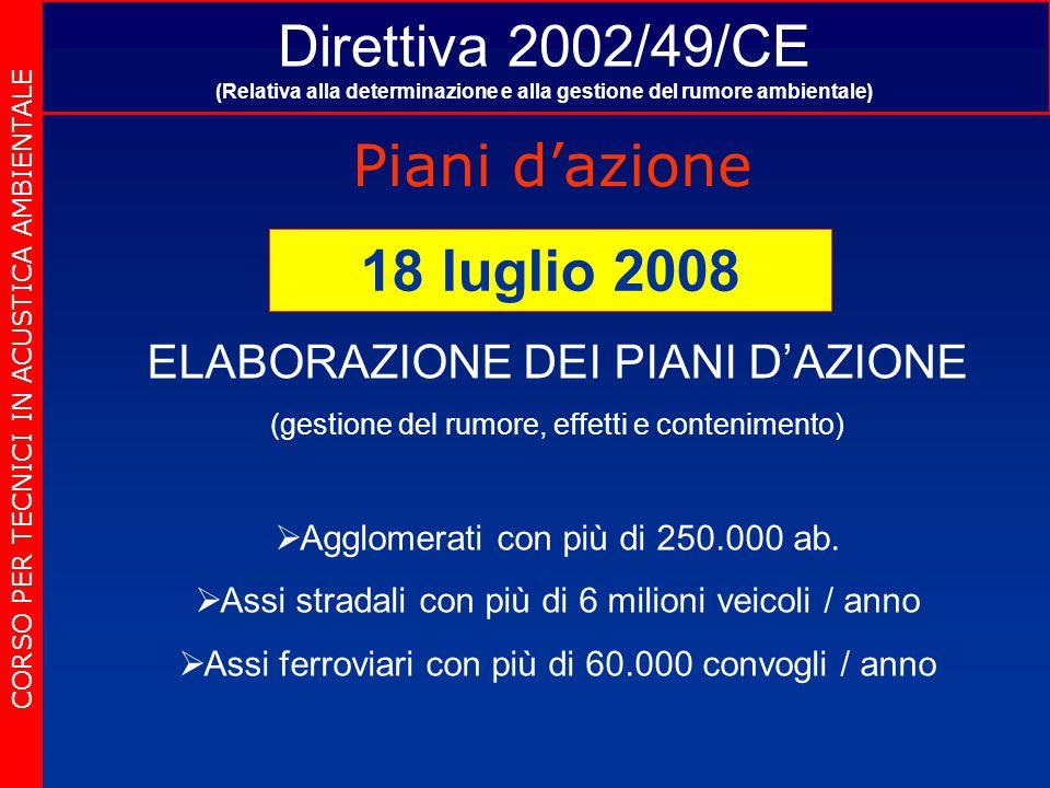Direttiva 2002/49/CE (Relativa alla determinazione e alla gestione del rumore ambientale) Piani d'azione CORSO PER TECNICI IN ACUSTICA AMBIENTALE 18 l
