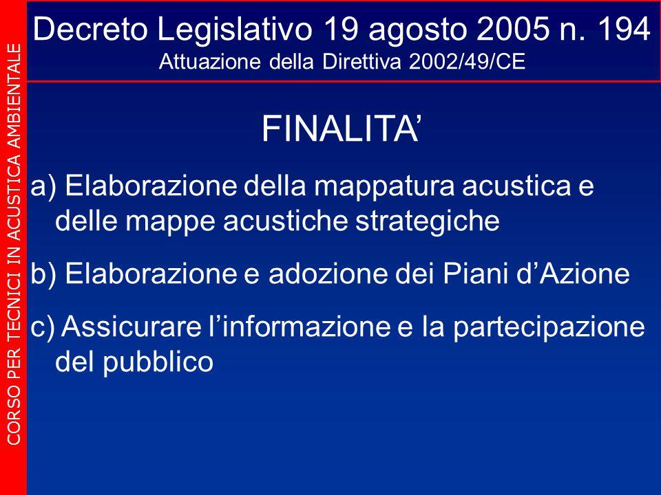 Decreto Legislativo 19 agosto 2005 n. 194 Attuazione della Direttiva 2002/49/CE CORSO PER TECNICI IN ACUSTICA AMBIENTALE FINALITA' a) a) Elaborazione