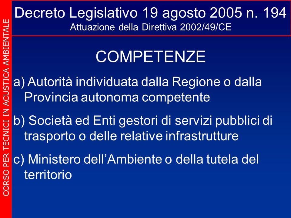 Decreto Legislativo 19 agosto 2005 n. 194 Attuazione della Direttiva 2002/49/CE CORSO PER TECNICI IN ACUSTICA AMBIENTALE COMPETENZE a) a) Autorità ind