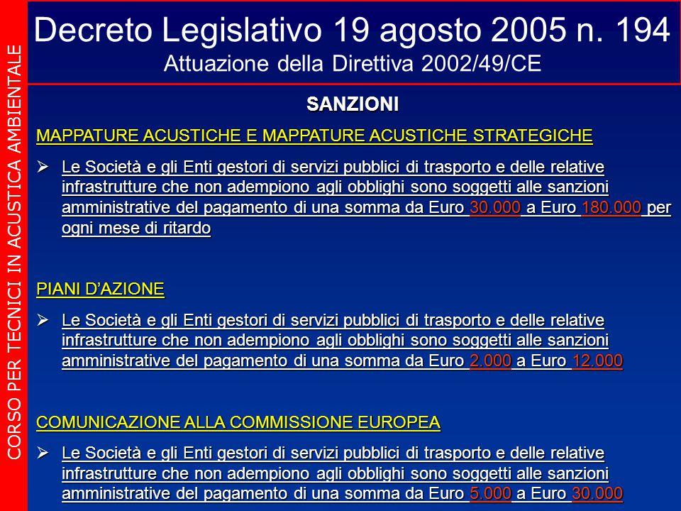 Decreto Legislativo 19 agosto 2005 n. 194 Attuazione della Direttiva 2002/49/CE CORSO PER TECNICI IN ACUSTICA AMBIENTALE SANZIONI MAPPATURE ACUSTICHE
