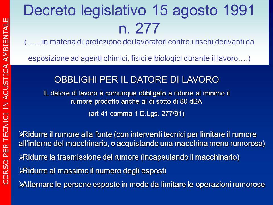 CORSO PER TECNICI IN ACUSTICA AMBIENTALE Decreto legislativo 15 agosto 1991 n. 277 (……in materia di protezione dei lavoratori contro i rischi derivant