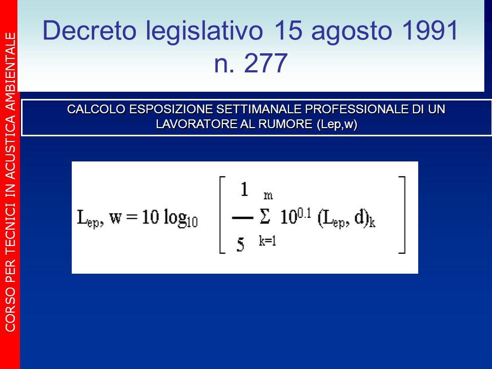 CORSO PER TECNICI IN ACUSTICA AMBIENTALE Decreto legislativo 15 agosto 1991 n. 277 CALCOLO ESPOSIZIONE SETTIMANALE PROFESSIONALE DI UN LAVORATORE AL R