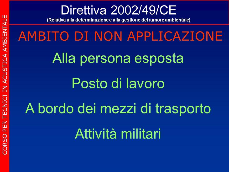 Direttiva 2002/49/CE (Relativa alla determinazione e alla gestione del rumore ambientale) AMBITO DI NON APPLICAZIONE CORSO PER TECNICI IN ACUSTICA AMBIENTALE Alla persona esposta Posto di lavoro A bordo dei mezzi di trasporto Attività militari