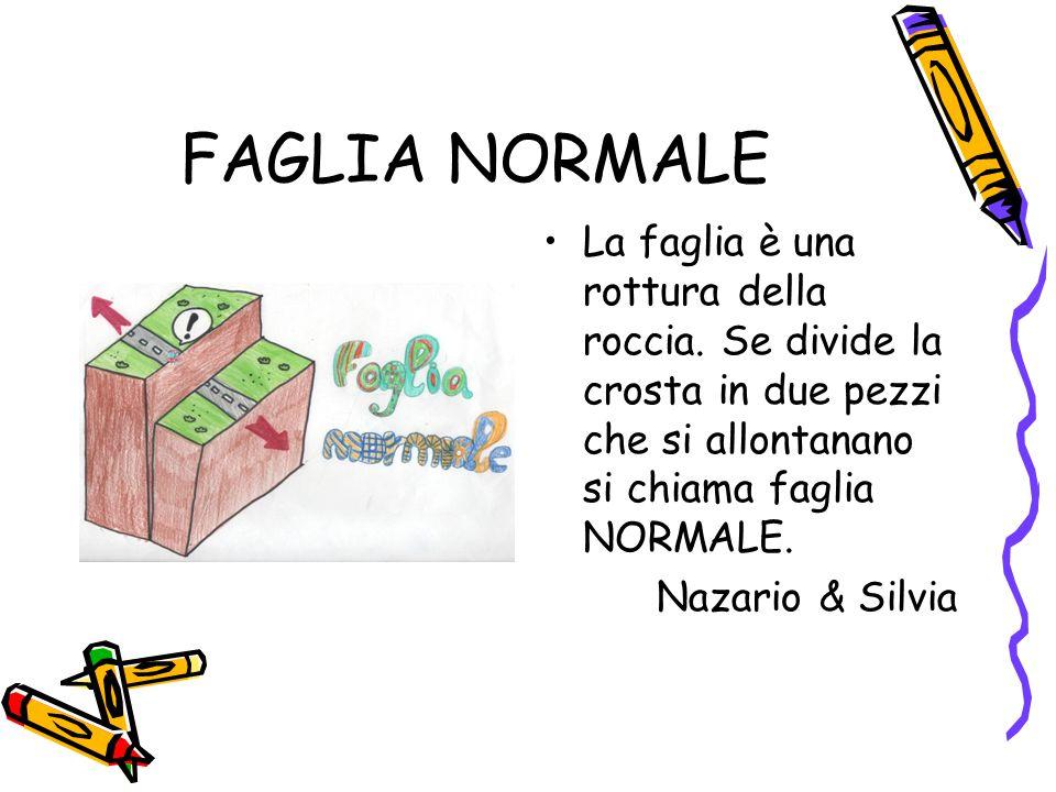 FAGLIA NORMALE La faglia è una rottura della roccia. Se divide la crosta in due pezzi che si allontanano si chiama faglia NORMALE. Nazario & Silvia