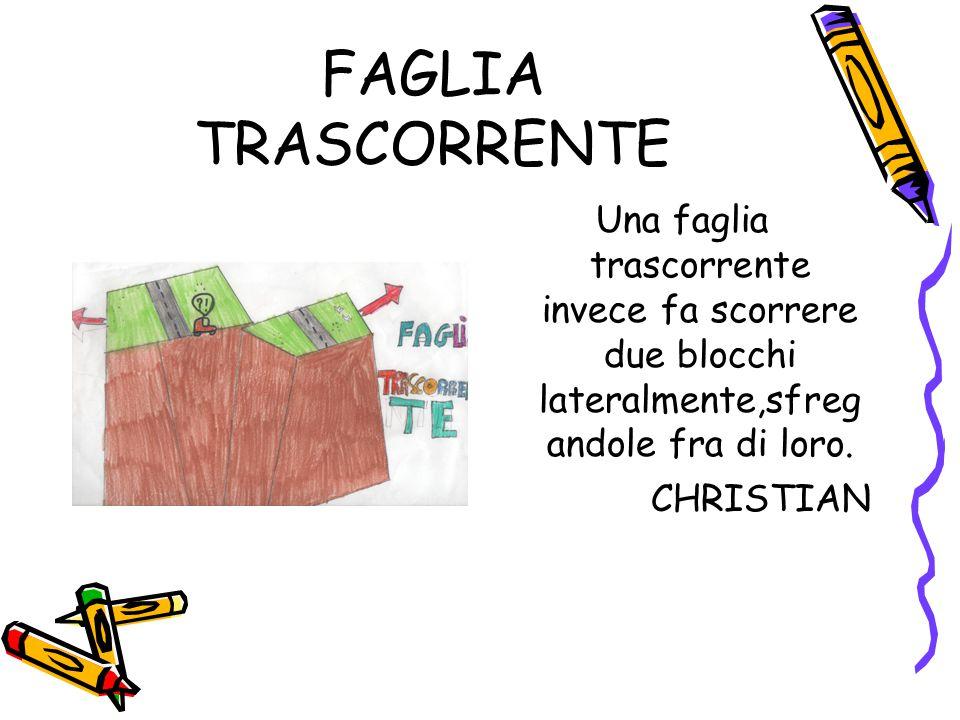 FAGLIA TRASCORRENTE Una faglia trascorrente invece fa scorrere due blocchi lateralmente,sfreg andole fra di loro.