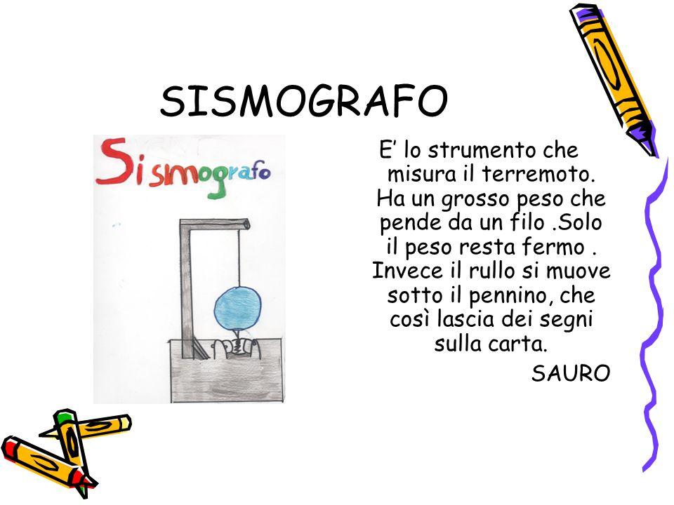 SISMOGRAFO E' lo strumento che misura il terremoto. Ha un grosso peso che pende da un filo.Solo il peso resta fermo. Invece il rullo si muove sotto il