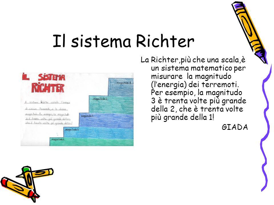 Il sistema Richter La Richter,più che una scala,è un sistema matematico per misurare la magnitudo (l'energia) dei terremoti. Per esempio, la magnitudo