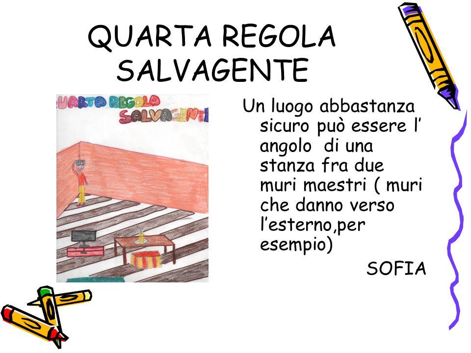 QUARTA REGOLA SALVAGENTE Un luogo abbastanza sicuro può essere l' angolo di una stanza fra due muri maestri ( muri che danno verso l'esterno,per esemp