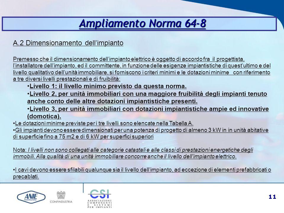 11 A.2 Dimensionamento dell'impianto Premesso che il dimensionamento dell'impianto elettrico è oggetto di accordo fra il progettista, l'installatore d