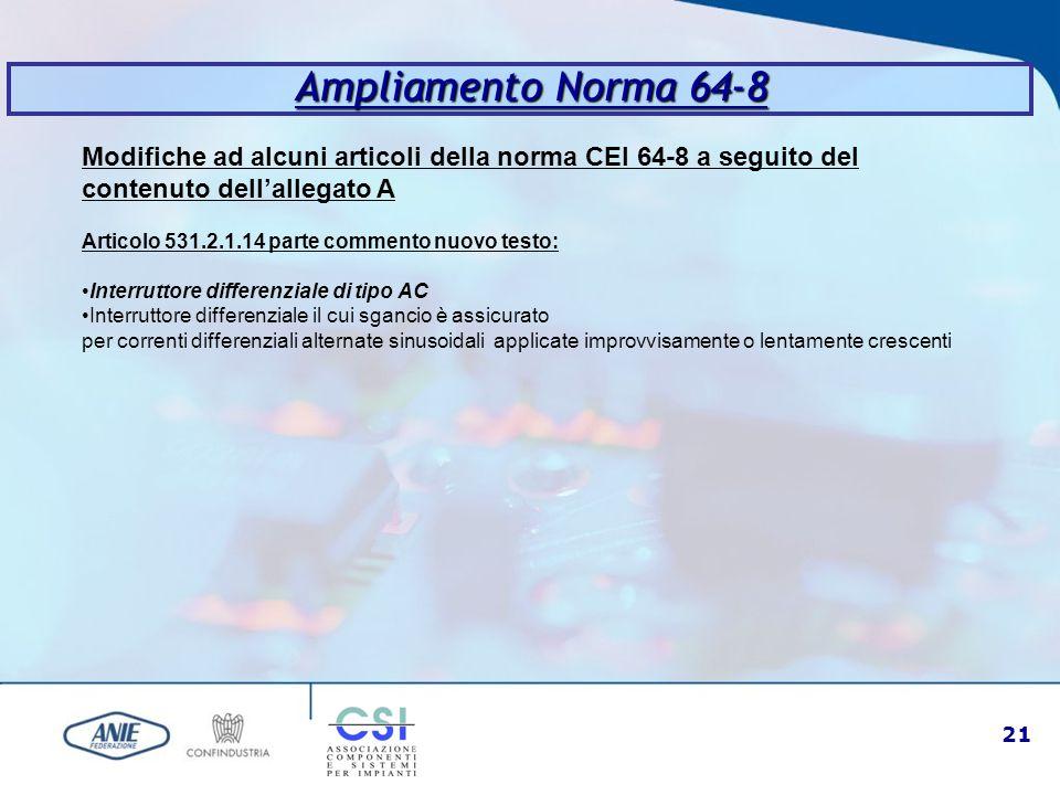 21 Ampliamento Norma 64-8 Modifiche ad alcuni articoli della norma CEI 64-8 a seguito del contenuto dell'allegato A Articolo 531.2.1.14 parte commento