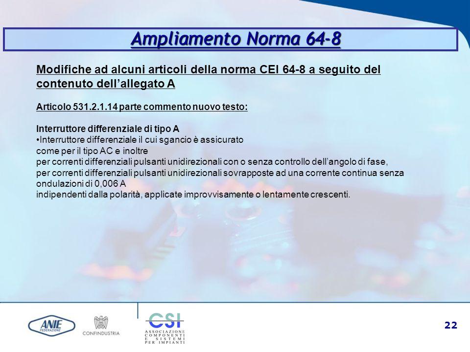 22 Ampliamento Norma 64-8 Modifiche ad alcuni articoli della norma CEI 64-8 a seguito del contenuto dell'allegato A Articolo 531.2.1.14 parte commento