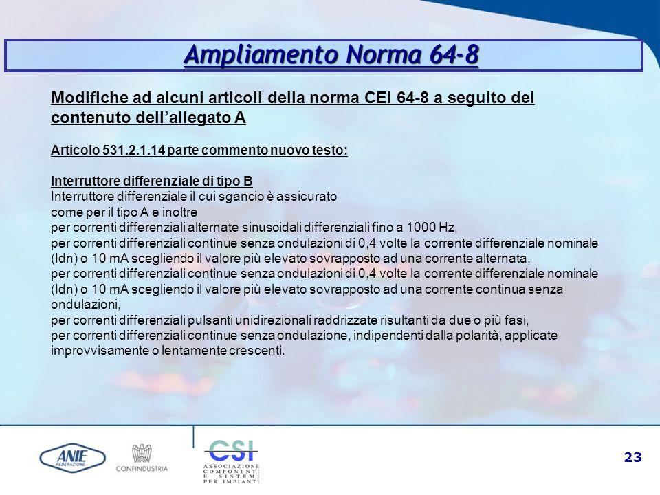 23 Ampliamento Norma 64-8 Modifiche ad alcuni articoli della norma CEI 64-8 a seguito del contenuto dell'allegato A Articolo 531.2.1.14 parte commento